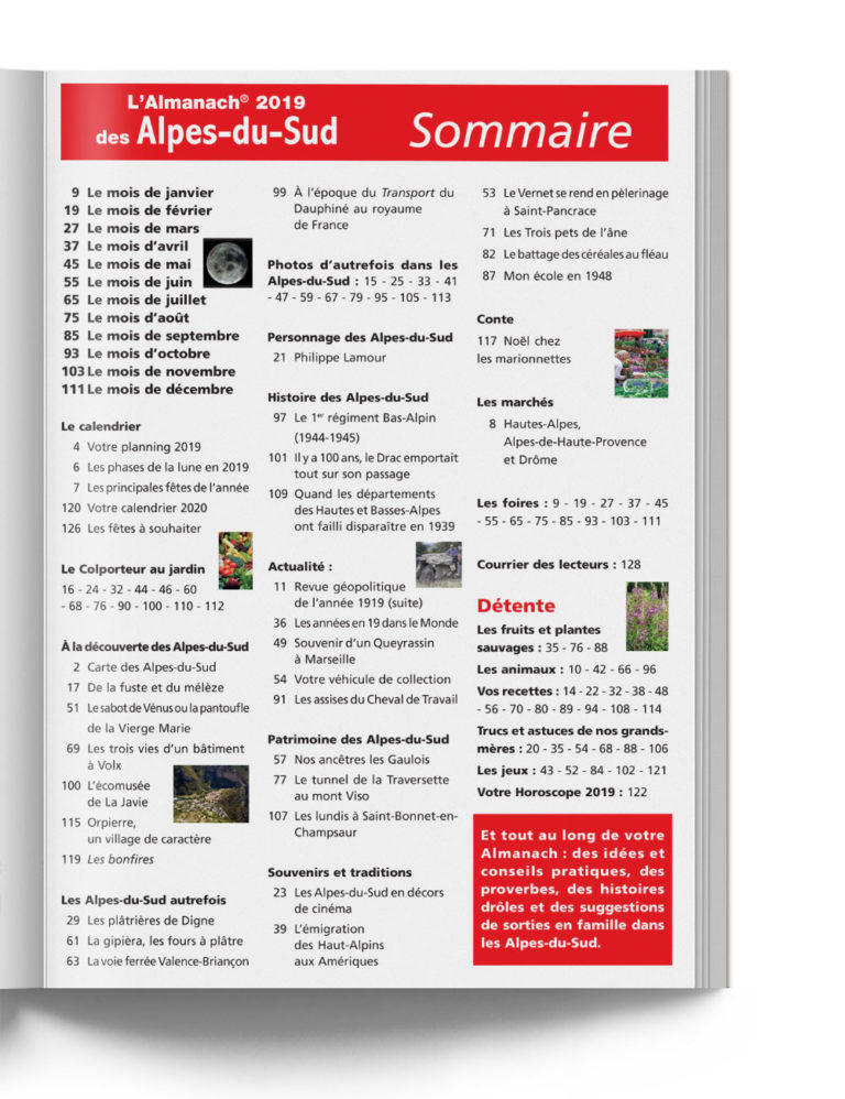 Sommaire Almanach Alpes du Sud 2019