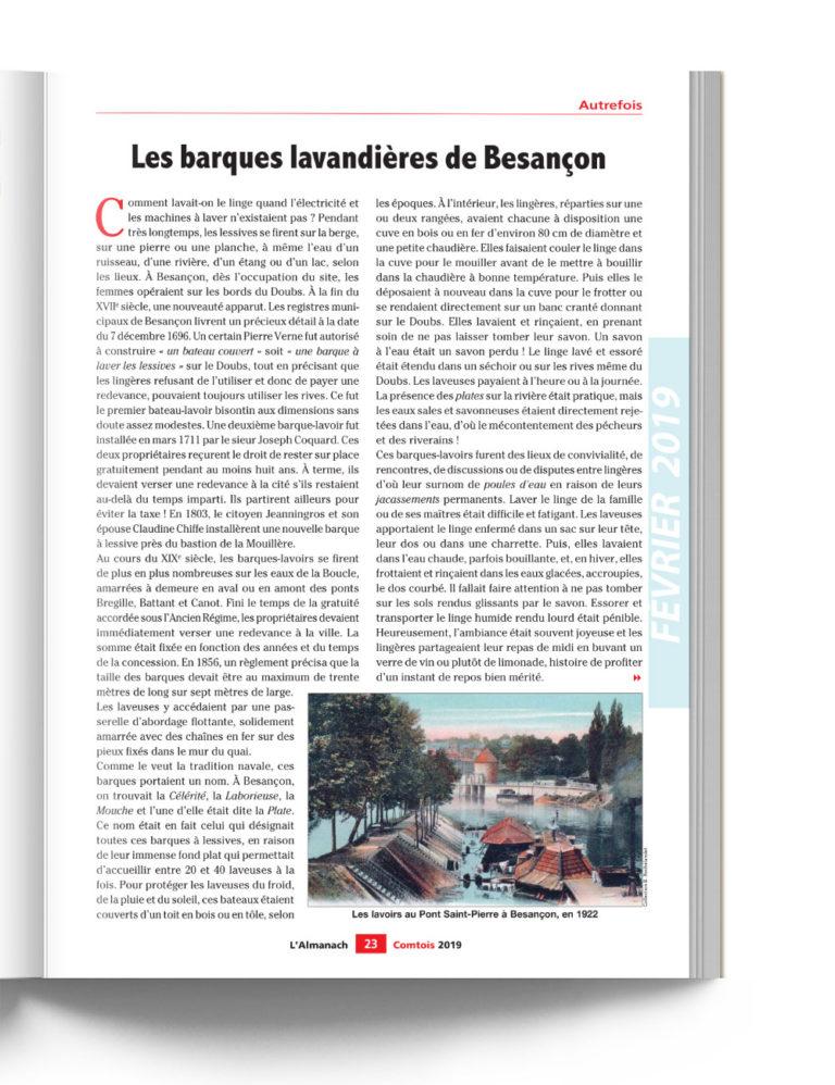 Almanach Comtois - Autrefois les barques lavandières de Besançon