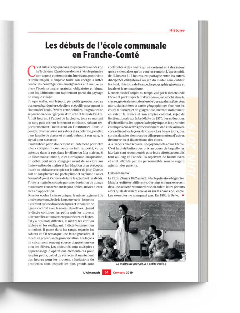 Almanach Comtois - Histoire de l'école communale en Franche-Comté