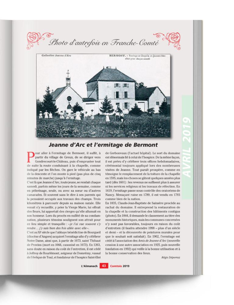 Almanach Comtois - Photo d'autrefois - Jeanne d'Arc et l'ermitage de Bermont