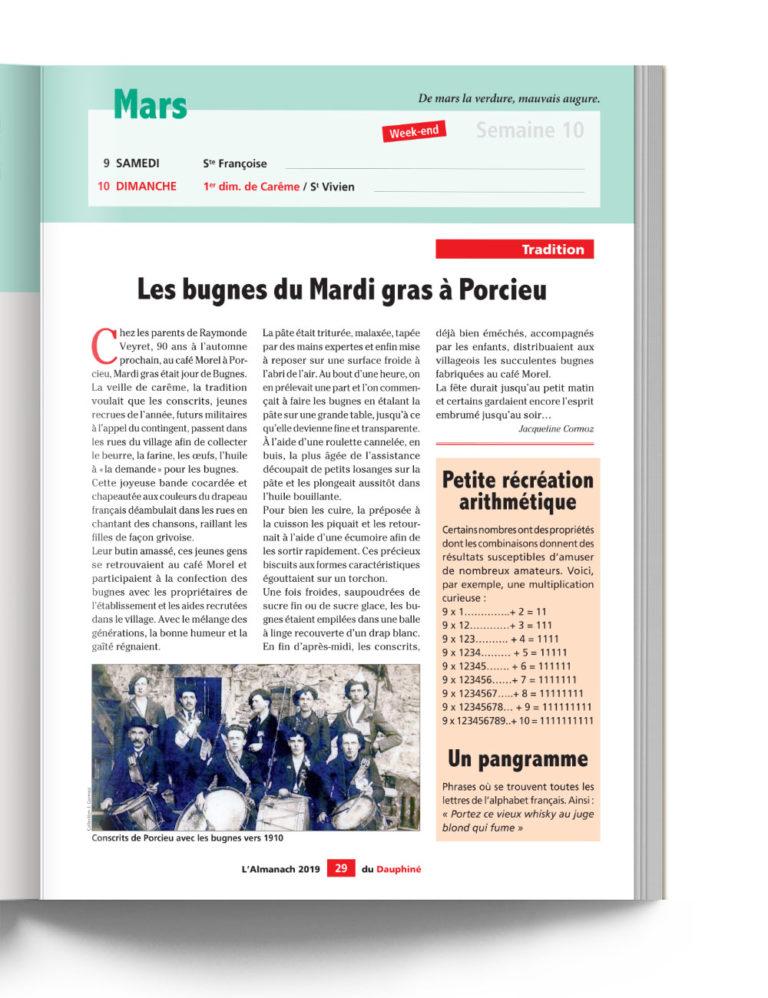 Almanach du Dauphiné - Les Bugnes du Mardi Gras à Porcieu