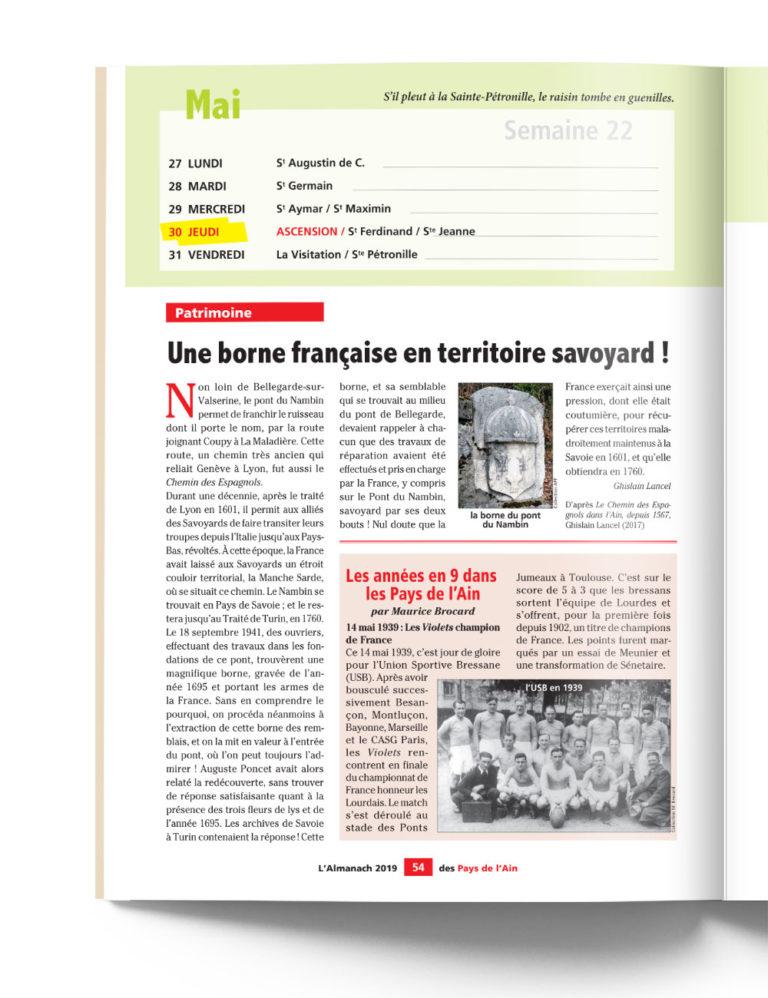 Almanach des Pays de l'Ain - Patrimoine Borne Française