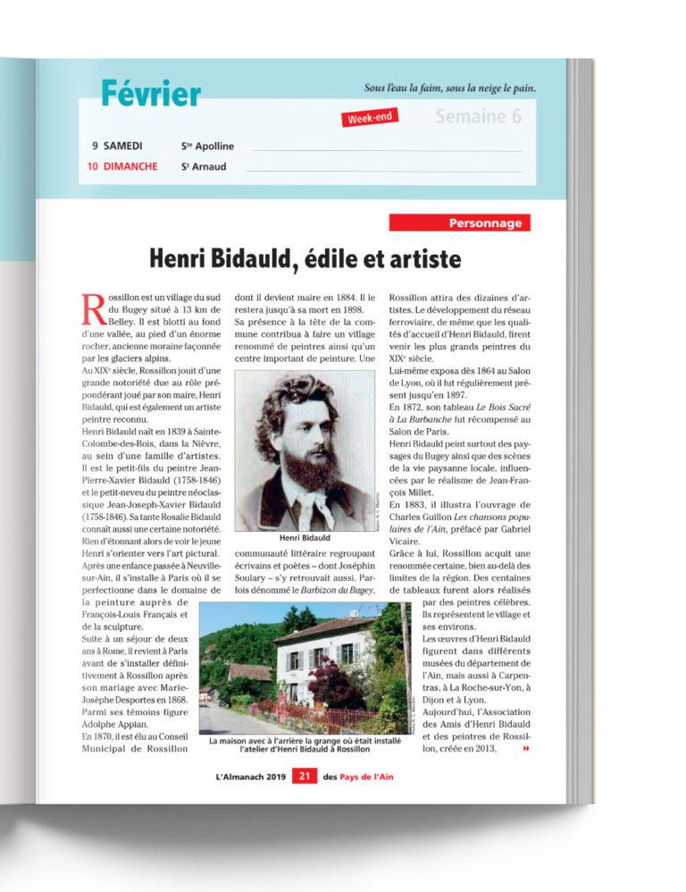 Almanach des Pays de l'Ain Personnage Henri Bidauld Artiste