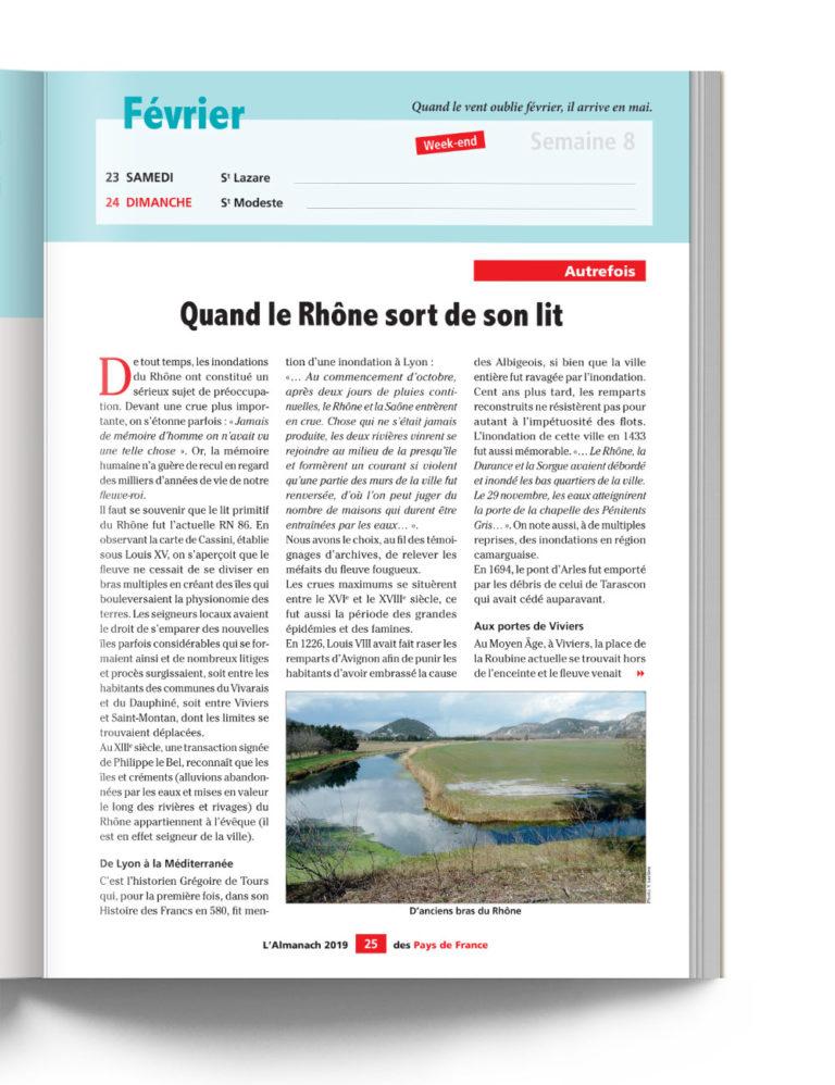 Almanach des Pays de France - Autrefois, quand le Rhône sort de son lit crue