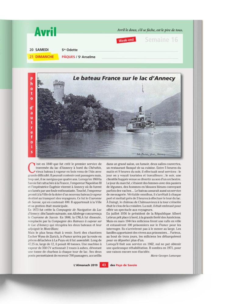 Almanach des Pays de Savoie - Photo Le Bateau France sur le Lac d'Annecy